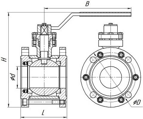 Кран шаровой ВКМ.М-65-25-М-Р